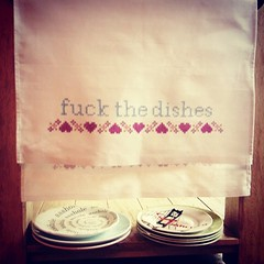 Rejoice for the fuck the dishes tea towels are back in stock on my website! www.thebellwether.co.uk