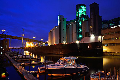 city blue ny newyork port photography gold boat canal photo buffalo ship dusk american transportation bluehour docked freight freighter mariner generalmills americanmariner danielnovak