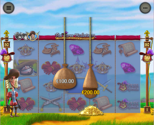 free The Three Musketeers and the Queen's Diamond Mobile slot bonus feature