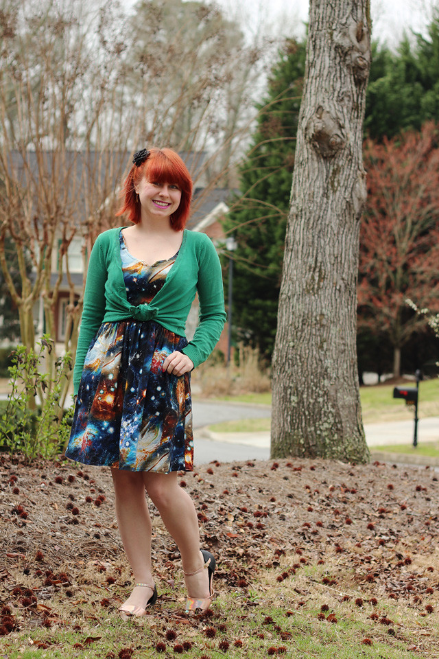 Green Cardigan, Modcloth Galaxy Print Dress, Holographic Flats, and a Black Flower Hair Clip