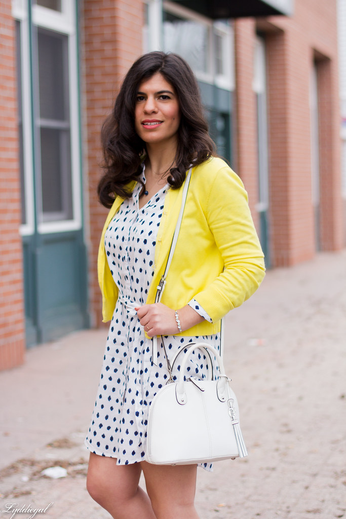 polka dot shirt dress, yellow cardigan, silver pumps-3.jpg