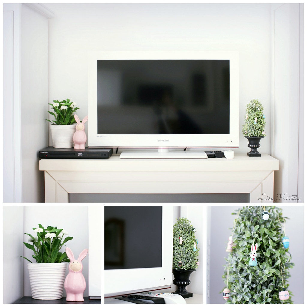 easter decoration fireplace white samsung tv bedroom clean bunny rabbit ikea plant flowers pot statue statuette