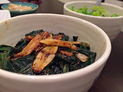 Sauteed collard greens with caramelized miso