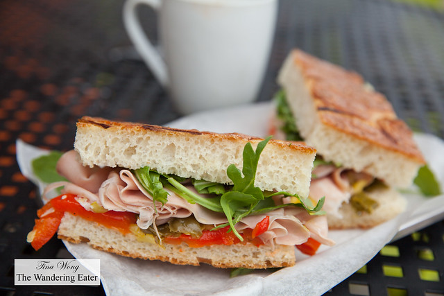 Mortadella, pickled peppers, arugula on onion focaccia