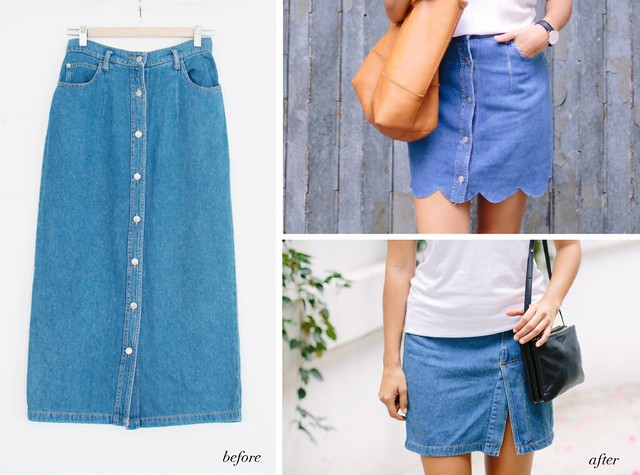 Before & After: one Denim Skirt Becomes two (the Scalloped and the ...