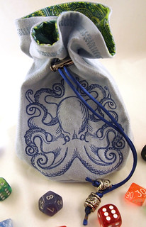Blue Octopus Dice Bag