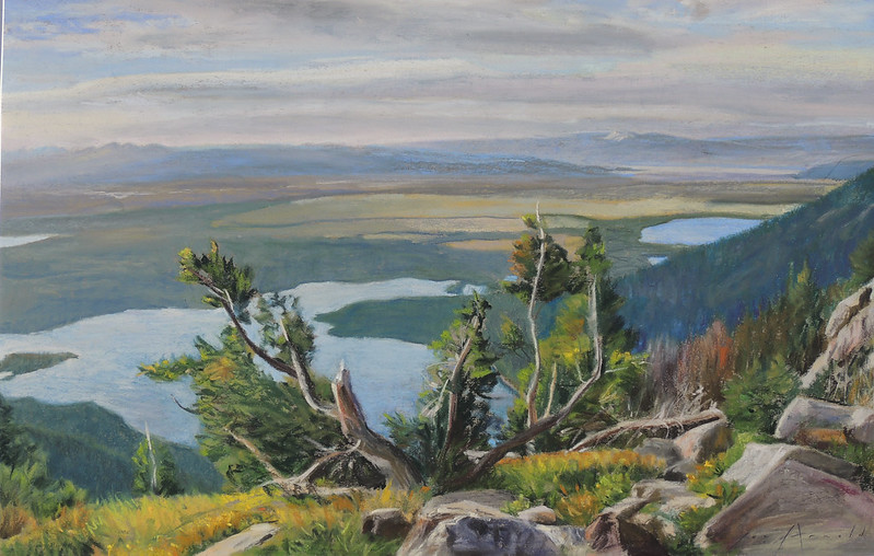 Pastel on Paper | 16 1/4 x 26 inches | Notes: Here is one of the most beautiful campsites in the Tetons. Below is Leigh Lake and further right are String and Jenny lakes.