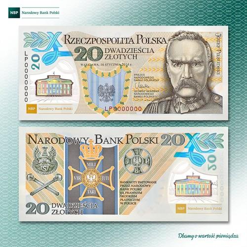 Polish 20 PLN banknote Marshal Pilsudski