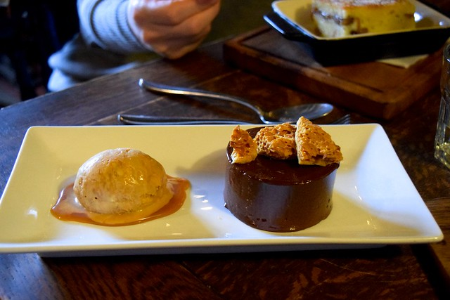 Cold Chocolate Fondant & Honeycomb Ice Cream at The Compasses Inn, Crundale