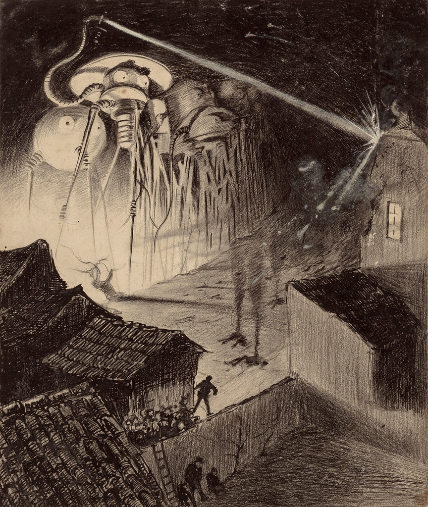 "HENRIQUE ALVIM CORRÊA - Martians Blast House, from The War of the Worlds, Belgium edition, 1906 (illustration is featured in Book I- The Coming of the Martians, Chapter VIII- ""Friday Night,"")"