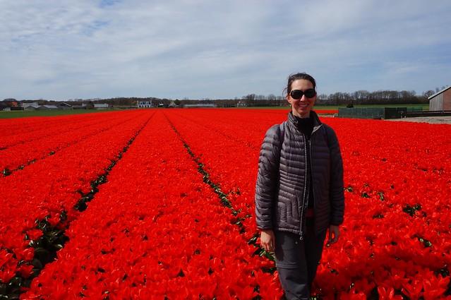 Caroline among the tulips