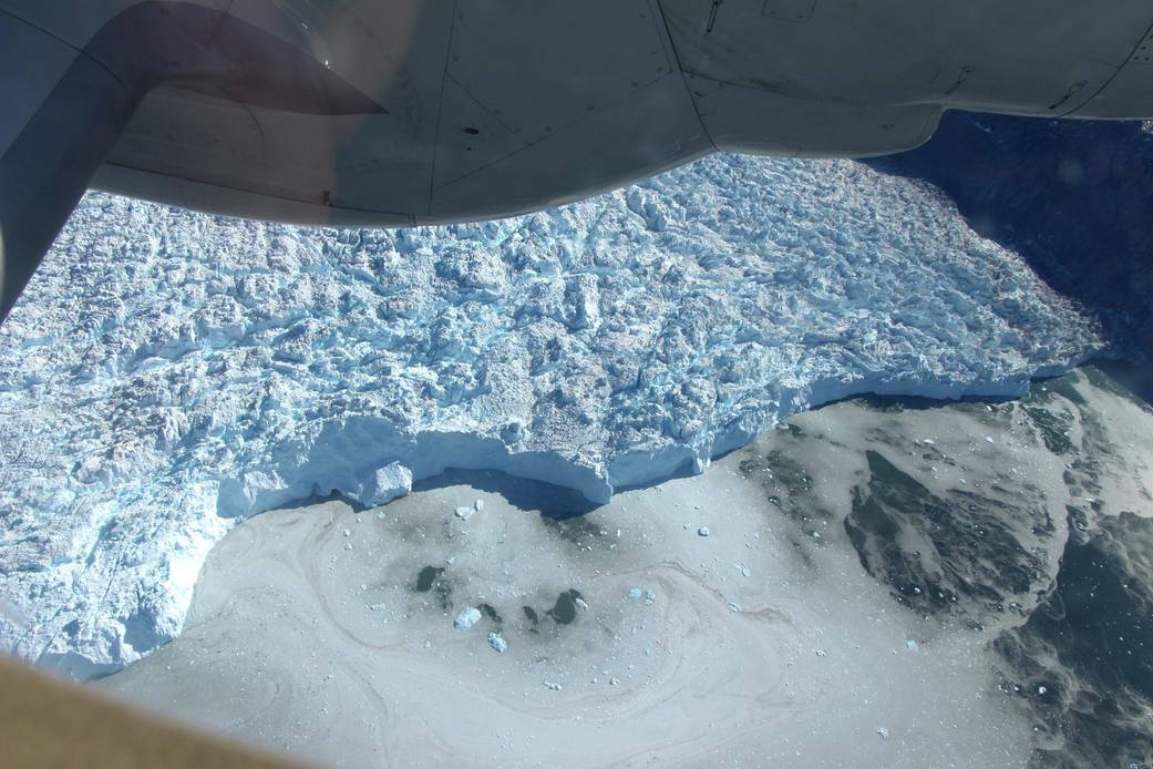 NASA's IceBridge Flies Over the Front of a Greenland Glacier