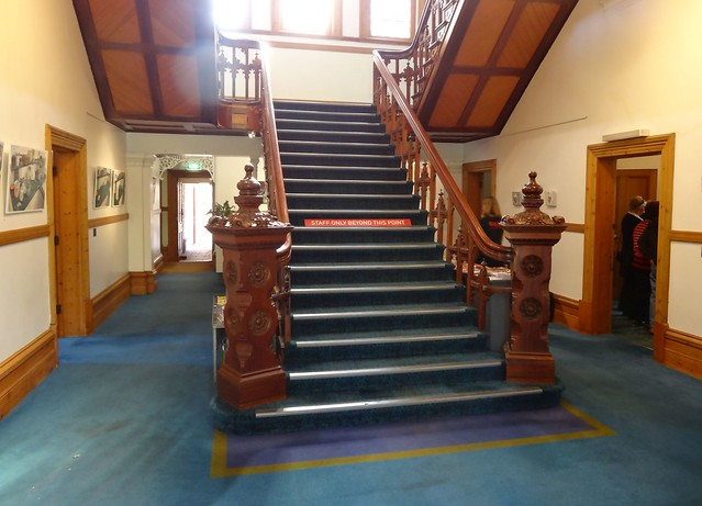 North Adelaide. The carved Edwardian style newels on the grand stair case in Carclew House. Built in 1897.