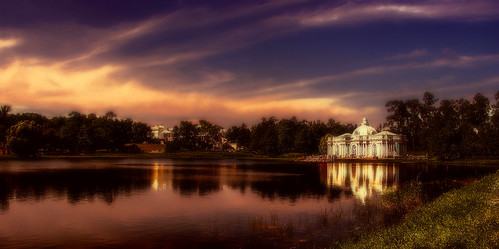 sunset sky lake colors misty evening twilight russia dusk perspective palace splendid pushkin