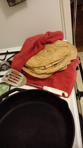 Homemade whole wheat flour tortillas