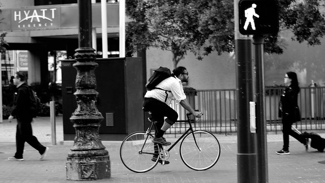 Sidewalk Bicyclist