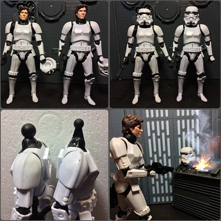 """Side by side of my custom Han and the new Black Series 6"""" Han."""