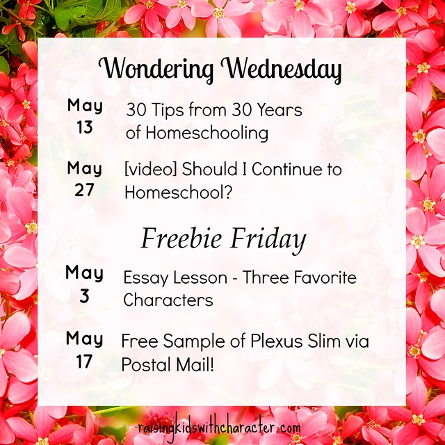 May Freebie Fridays and Wondering Wednesdays