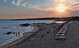 Image of Coralia Beach Beach with a length of 370 meters. sunset panorama coral backlight bay cyprus hugin darktable