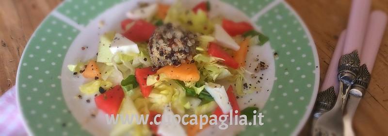 insalata di quinoa, anguria e feta