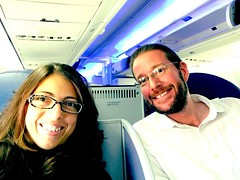 Hello! Complimentary business class upgrade! It\'s been a long time since I\'ve been a first two seat! Thanks @delta!