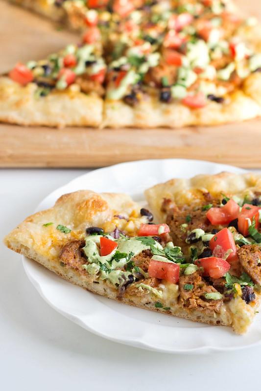 Tex-Mex Sausage Pizza with Poblano Crema