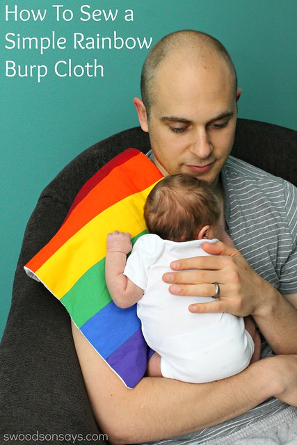 How To Sew A Rainbow Burp Cloth - perfect scrapbusting project to sew for baby!
