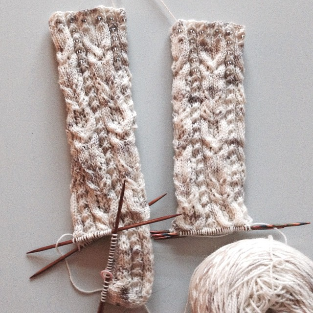 Socks with beads. ����? Beads! #sockmadness9