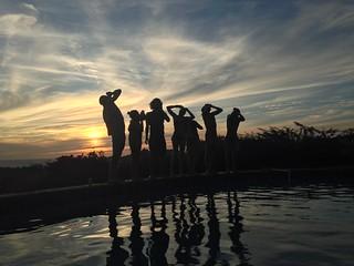 Sunset beer shotguns at Naked Tiger Hostel, San Juan Del Sur