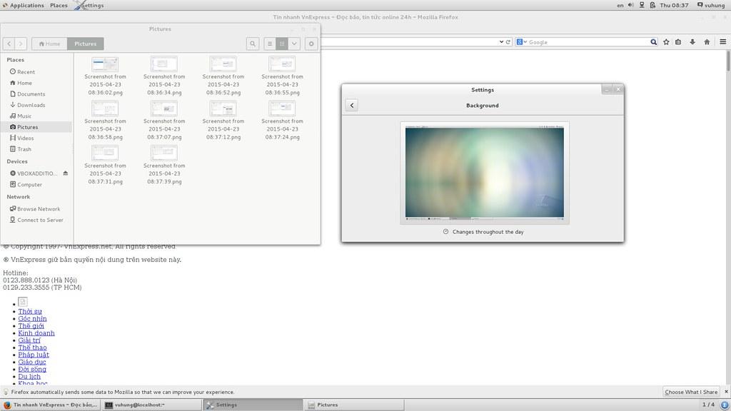 CentOS 7 64bit Settings - background