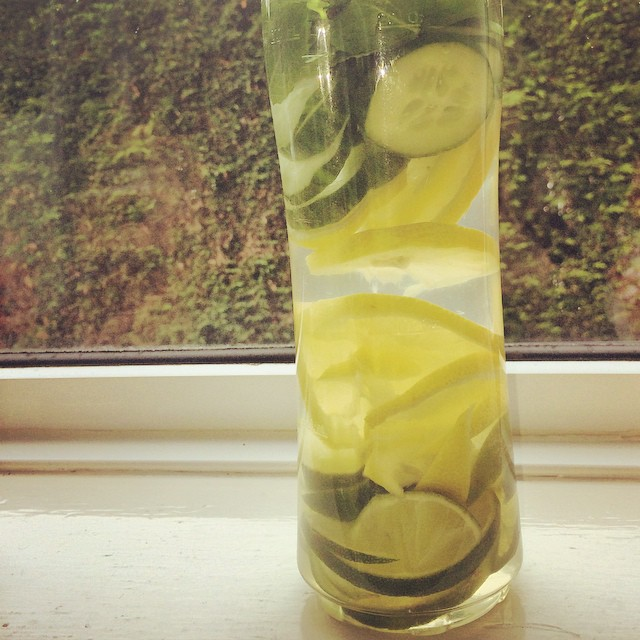Lemon lime mint cucumber in coconut water #infusedwater #detox #yum #weightloss