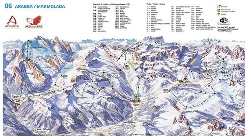 Arabba Marmolada - mapa sjezdovek