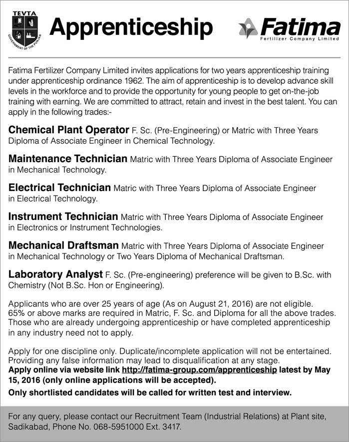 Fatima Fertilizer Company Apprenticeship Opportunities