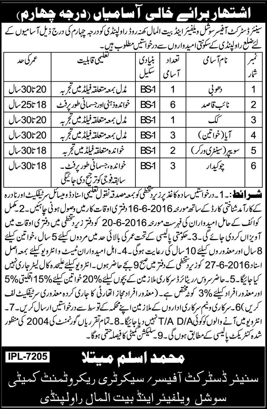 Social Welfare and Baitulmaal Department Rawalpindi Basic Scale Jobs