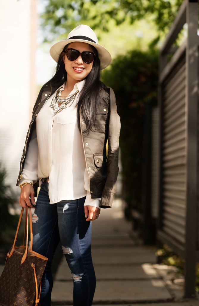 cute & little blog | petite fashion | j.crew downtown field jacket, baublebar grendel bib, distressed jeans, panama hat, leopard pumps, lv neverfull mm | spring outfit