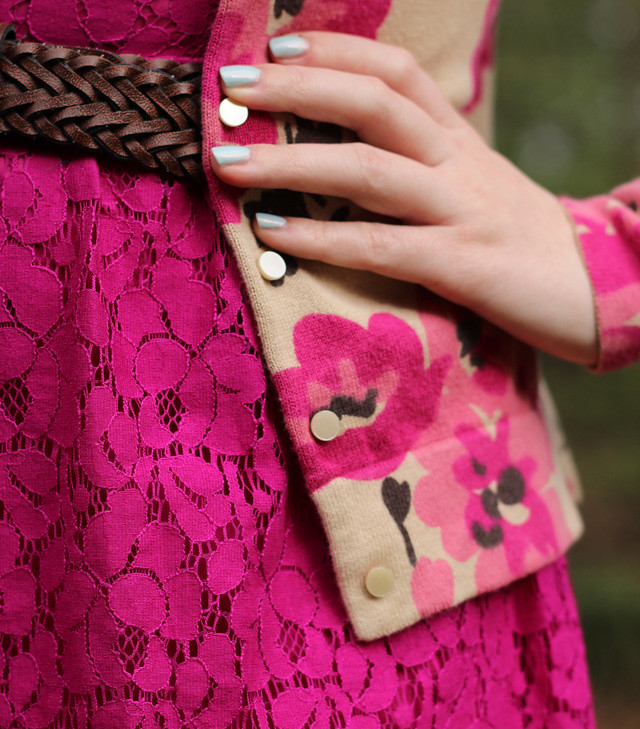 Pink Lace Dress Detailing with a Floral Cardigan