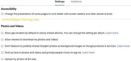 google plus settings foto dan video
