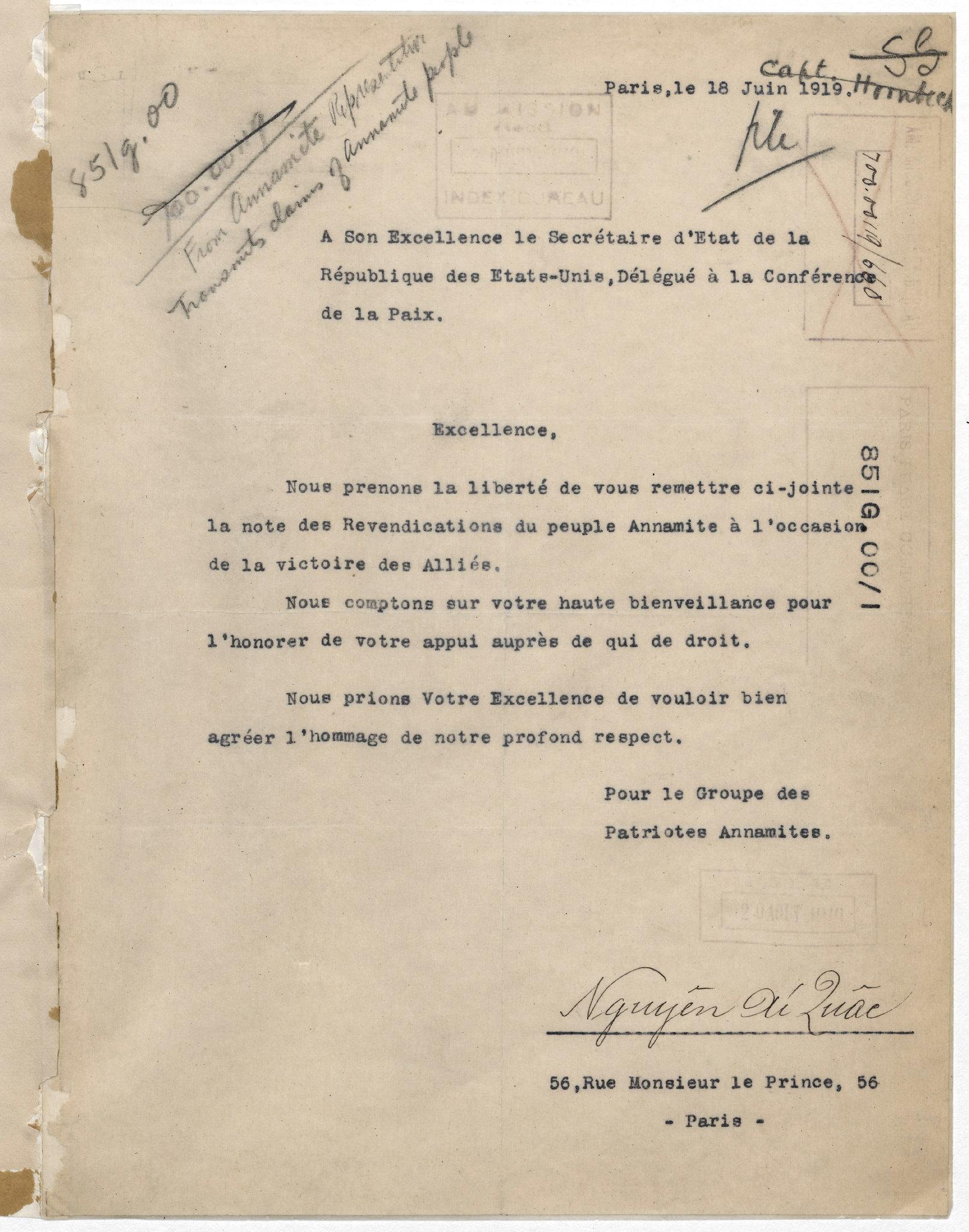 """Letter and Memo from Ho Chi Minh (June 18, 1919) - LÁ THƯ CỦA NGUYỄN ÁI QUỐC GỬI CHO BỘ TRƯỞNG NGOẠI GIAO MỸ ROBERT LANSING ngày 18-6-1919, kèm theo là """"Bản kiến nghị  của nhân dân An Nam"""""""
