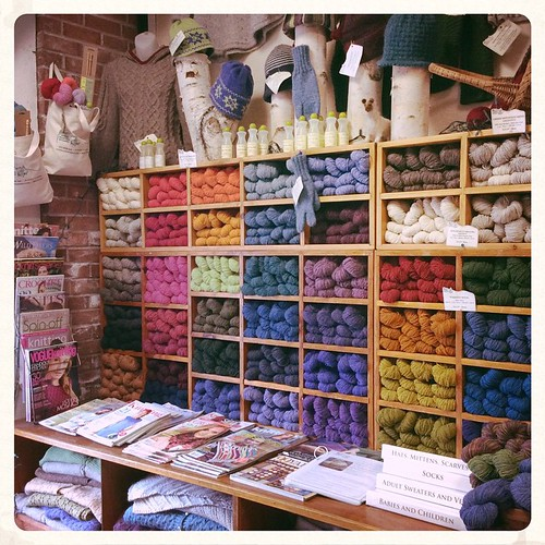 Am I in knitter's heaven? What an inspiring wall at Green Mountain Spinnery! #bluepeninsula #greenmountainspinnery #vermont #knit #knitting #knittersofinstagram #knitstagram
