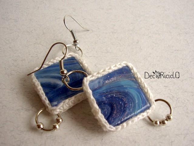 orecchini tessere mosaico blu 2
