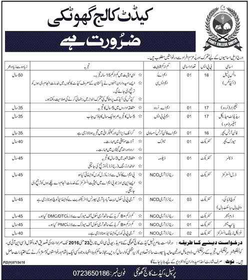 Cadet College Ghotki Jobs 2016