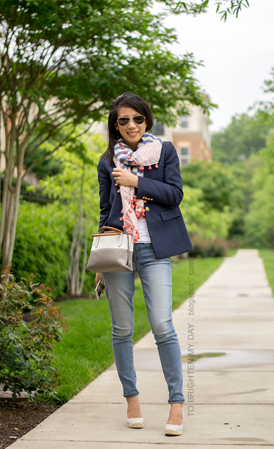 striped and pom pom scarf, navy blazer, colorblock crossbody bag, lightwash jeans, striped espadrille wedges