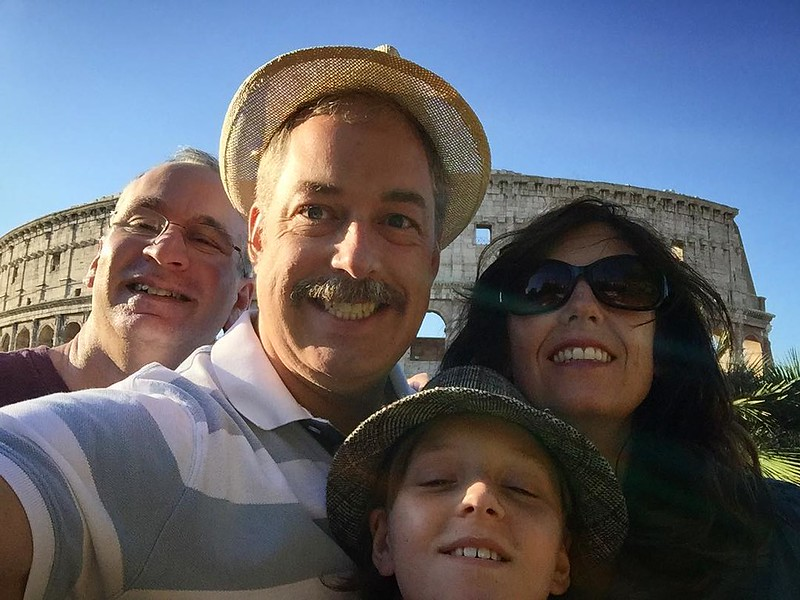 Family photo in front of the Colosseum