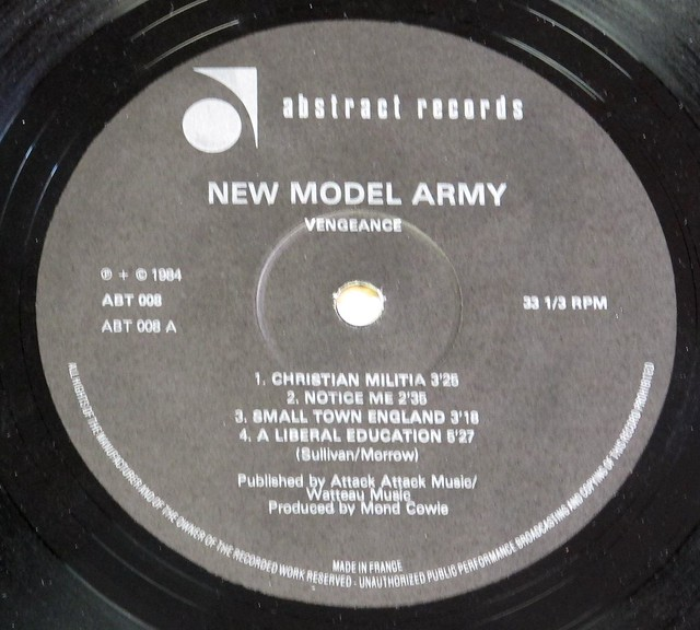 "NEW MODEL ARMY VENGEANCE 12"" LP VINYL"
