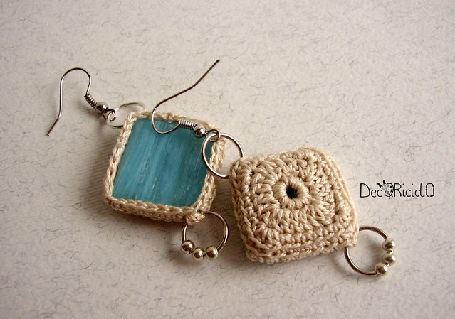 orecchini tessere mosaico turchese 3