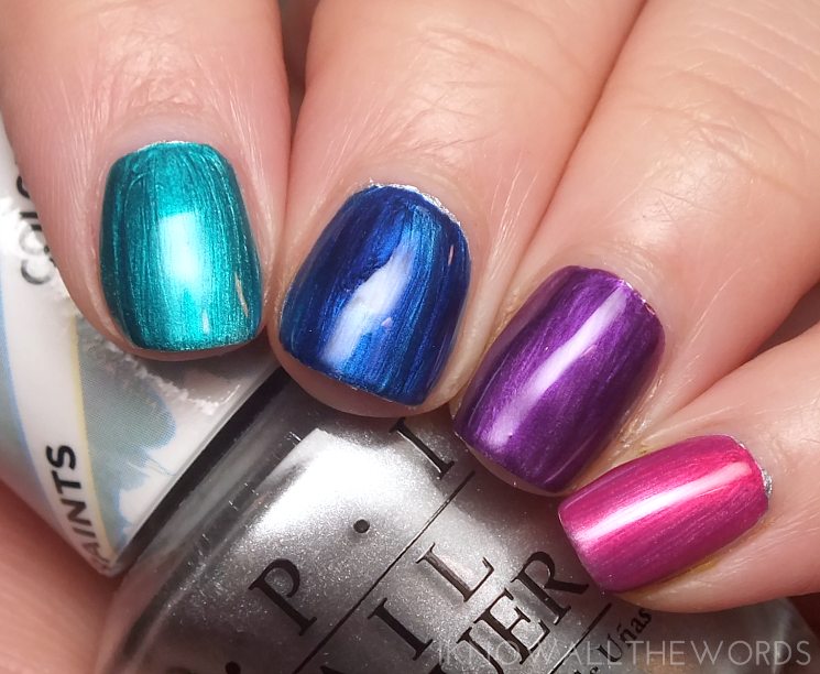 opi colour paints turquoise aaesthetic, indigo motif, purple perspective, and pen & pink over silver canvas