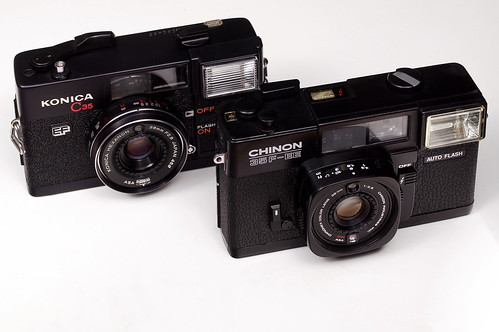 Konica C35 EF and Chinon 35F-EE