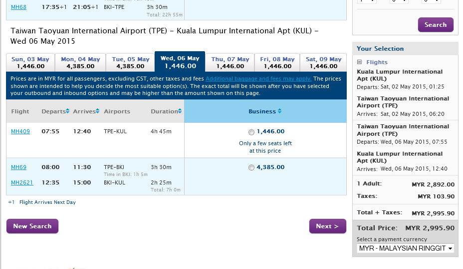 mhupgrade kl taipei business class actual fare