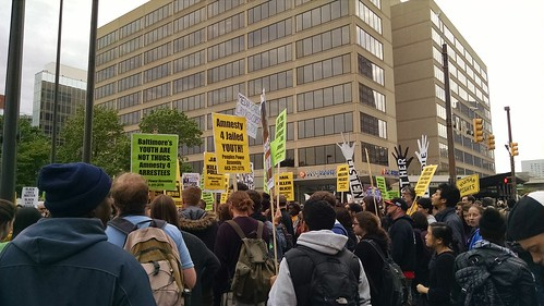 #FreddieGray #BlackLivesMatter #BaltimoreUprising Protest rally at McKeldin Square near Harborplace.