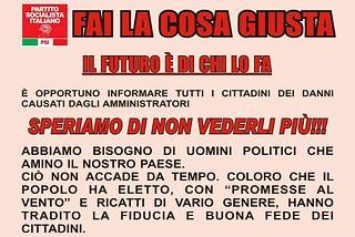 Noicattaro. Manifesto PSI front
